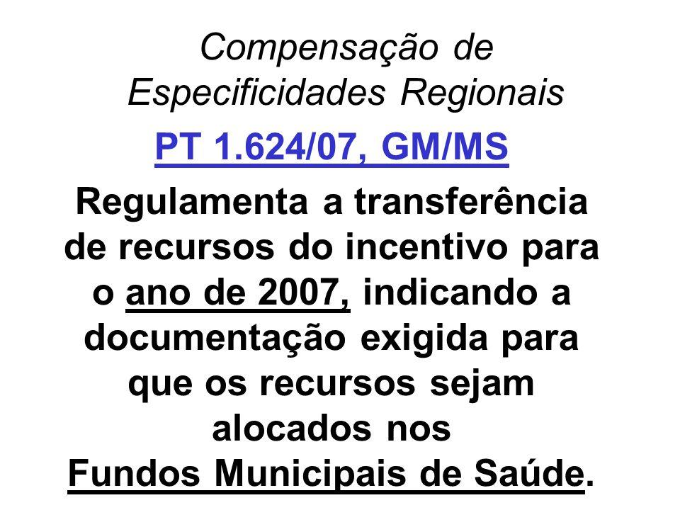 Compensação de Especificidades Regionais