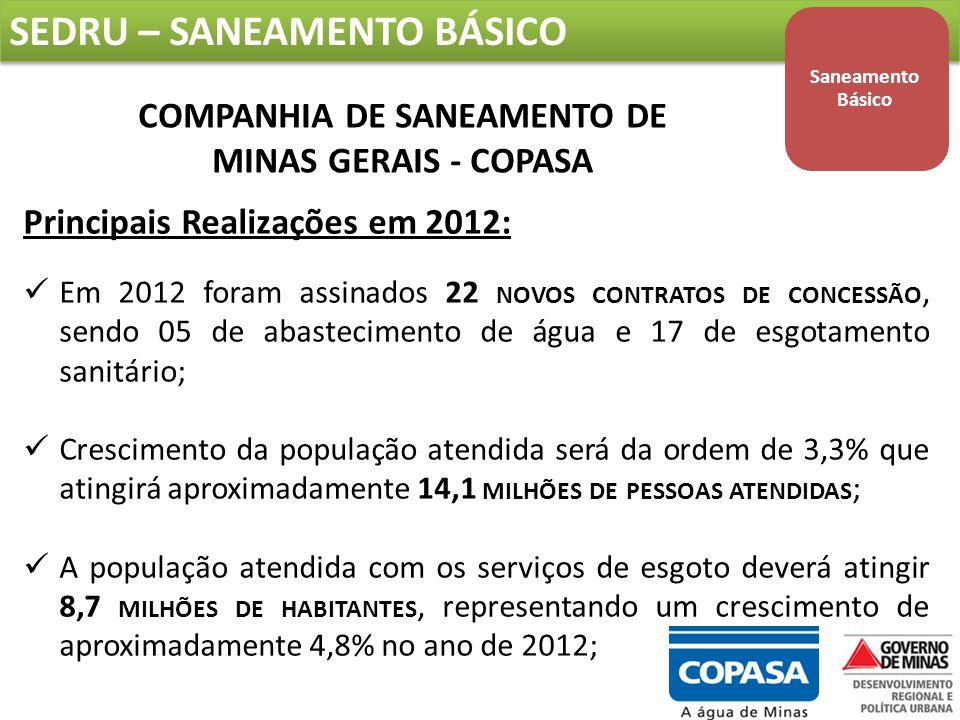 COMPANHIA DE SANEAMENTO DE MINAS GERAIS - COPASA