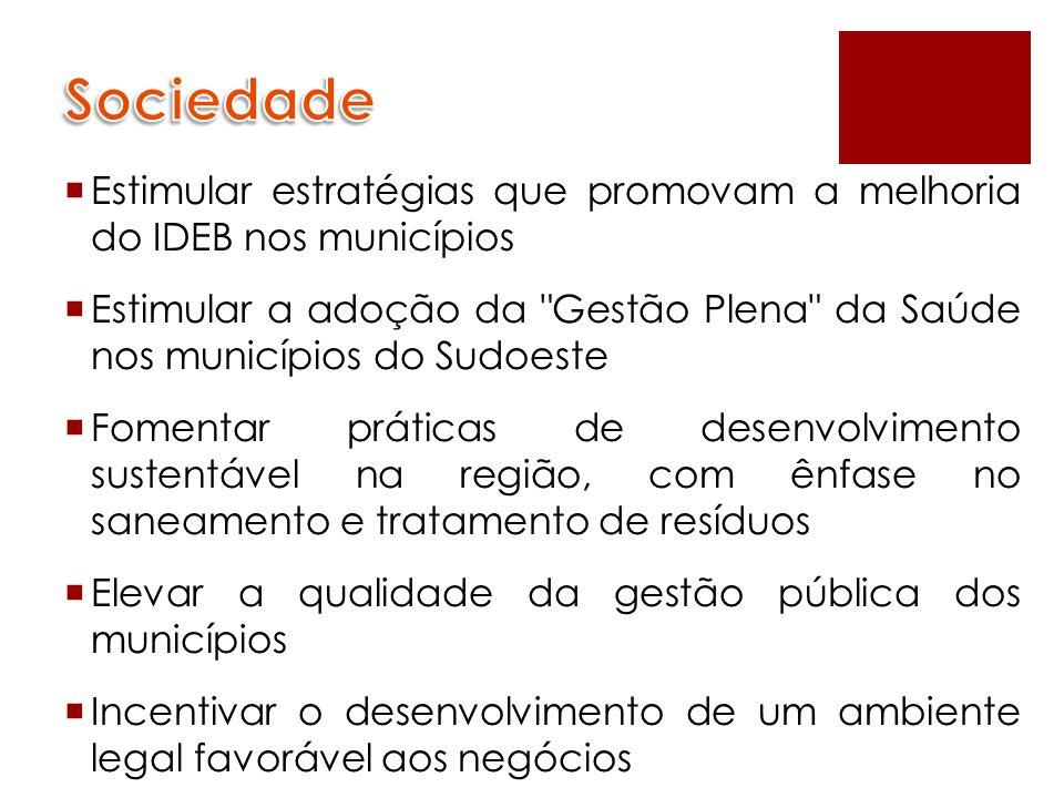 Sociedade Estimular estratégias que promovam a melhoria do IDEB nos municípios.