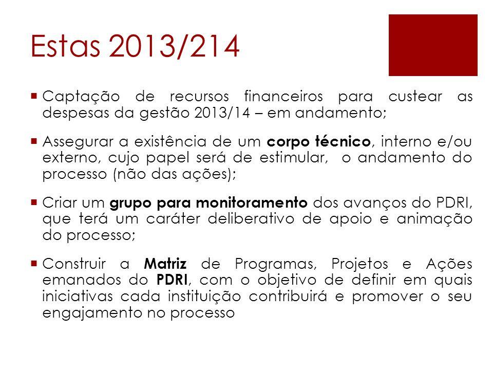 Estas 2013/214 Captação de recursos financeiros para custear as despesas da gestão 2013/14 – em andamento;