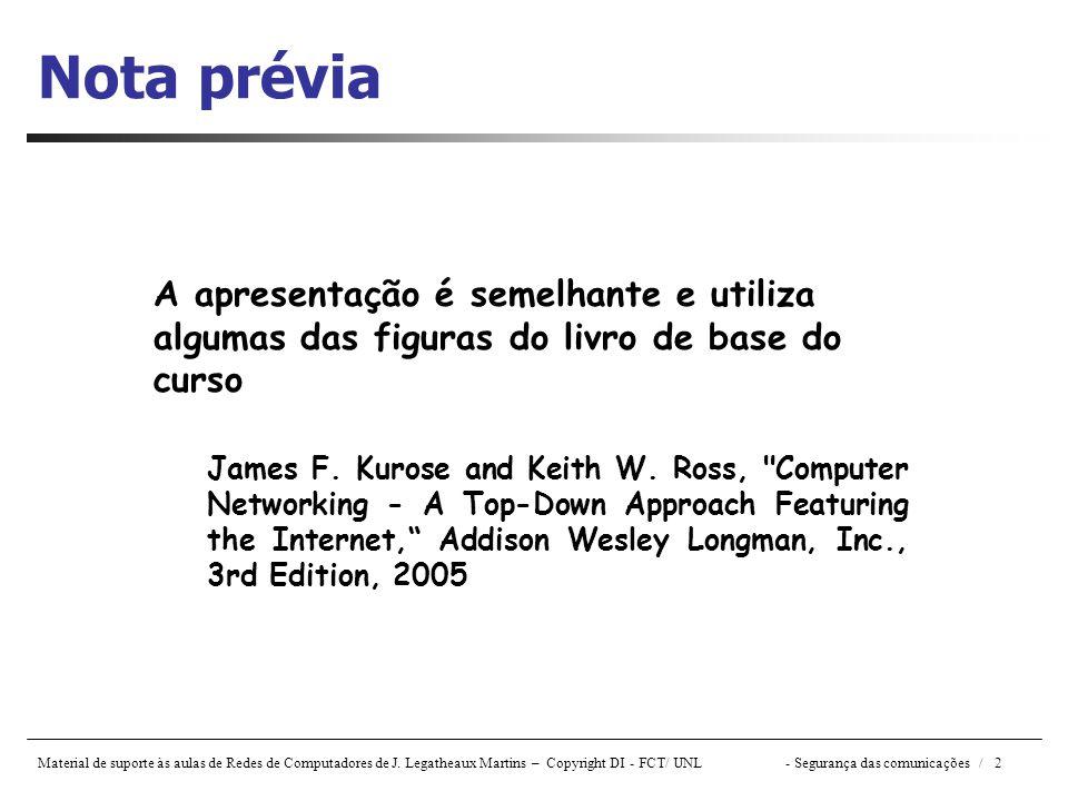 Nota prévia A apresentação é semelhante e utiliza algumas das figuras do livro de base do curso.