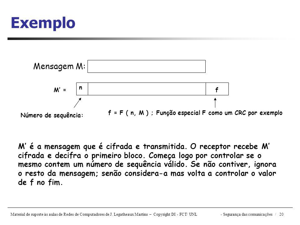 Exemplo Mensagem M: n. M' = f. f = F ( n, M ) ; Função especial F como um CRC por exemplo. Número de sequência: