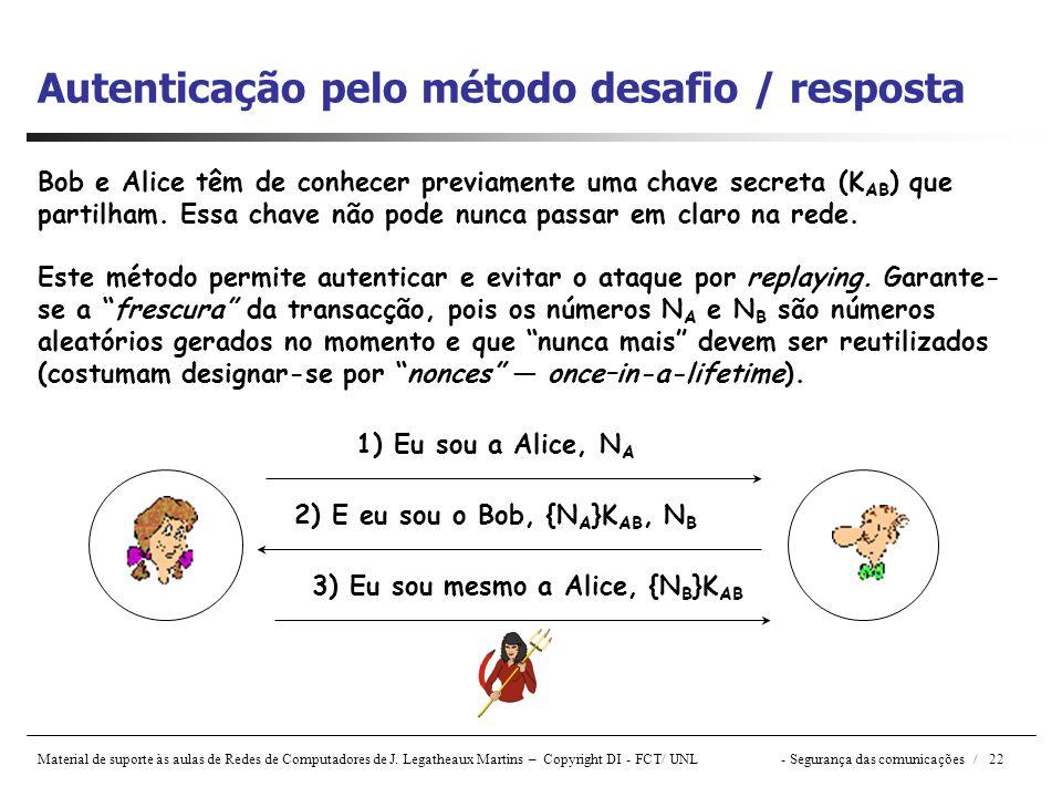 Autenticação pelo método desafio / resposta