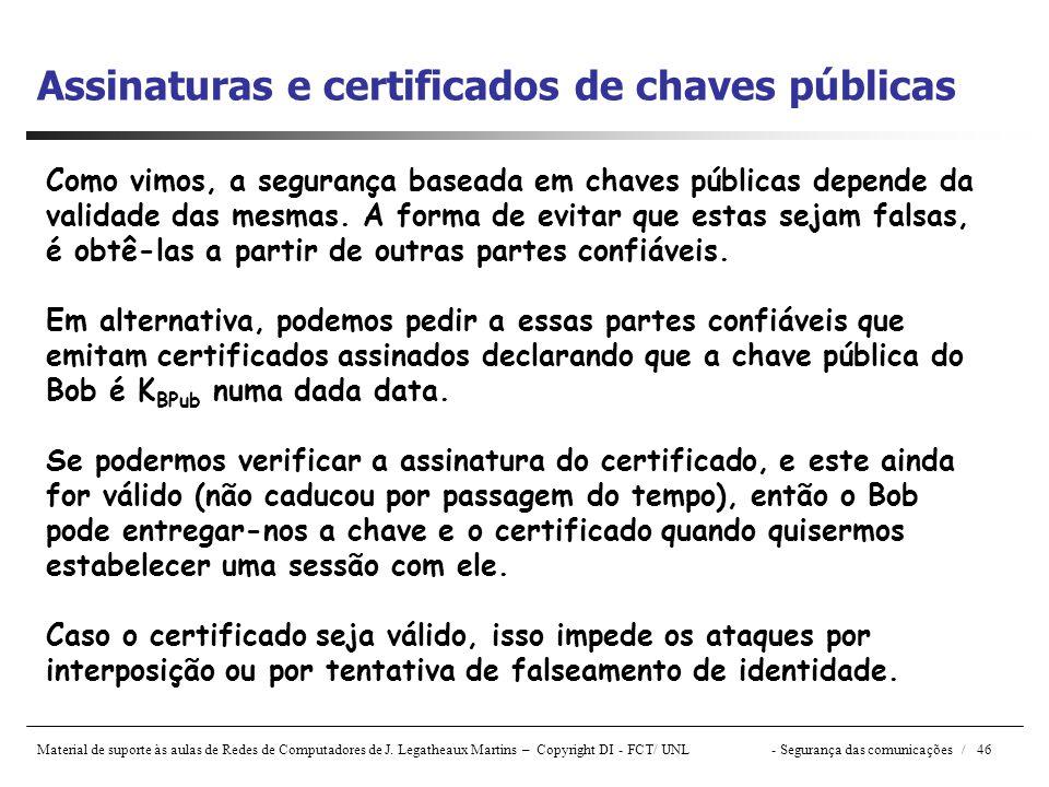 Assinaturas e certificados de chaves públicas