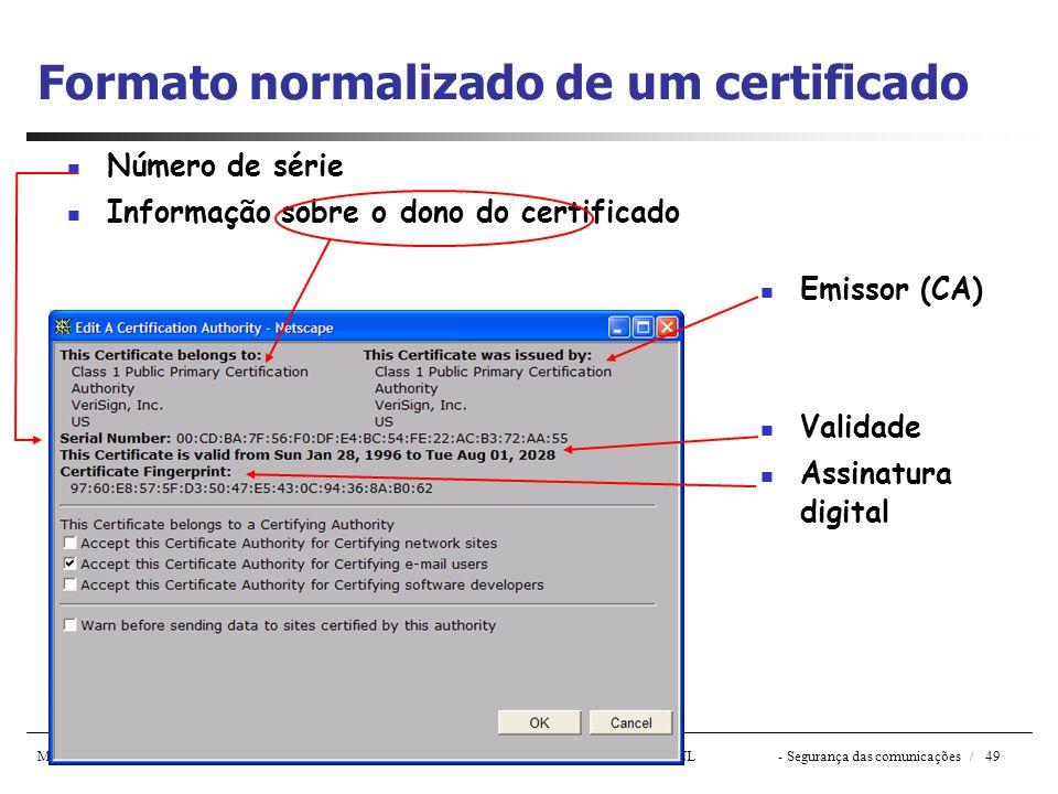Formato normalizado de um certificado
