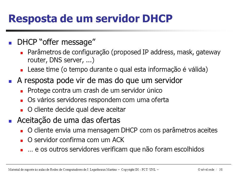 Resposta de um servidor DHCP