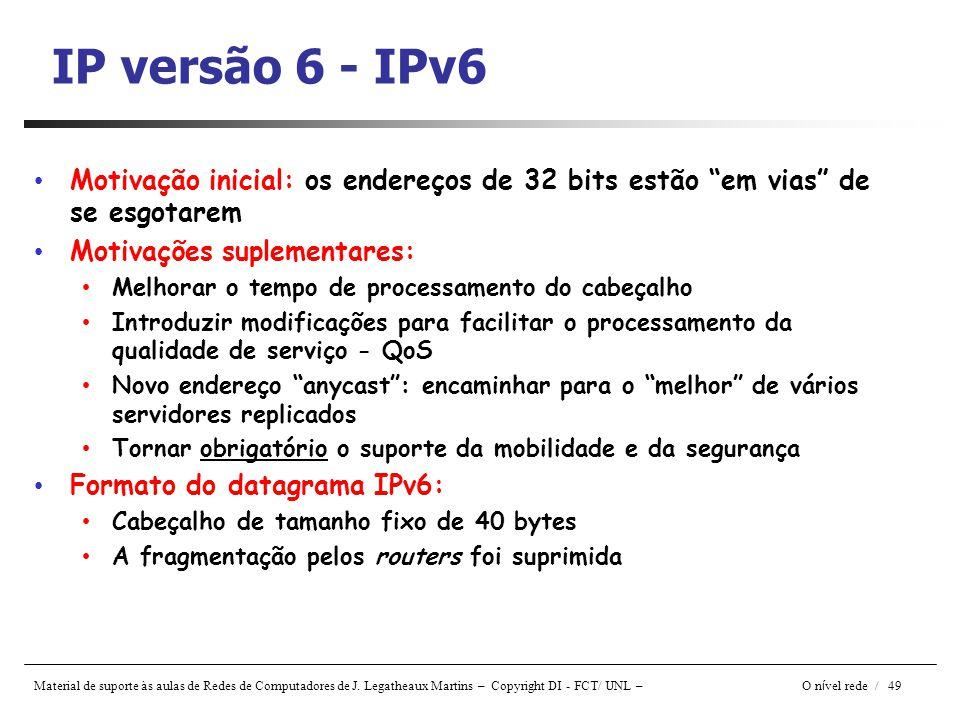 IP versão 6 - IPv6 Motivação inicial: os endereços de 32 bits estão em vias de se esgotarem. Motivações suplementares: