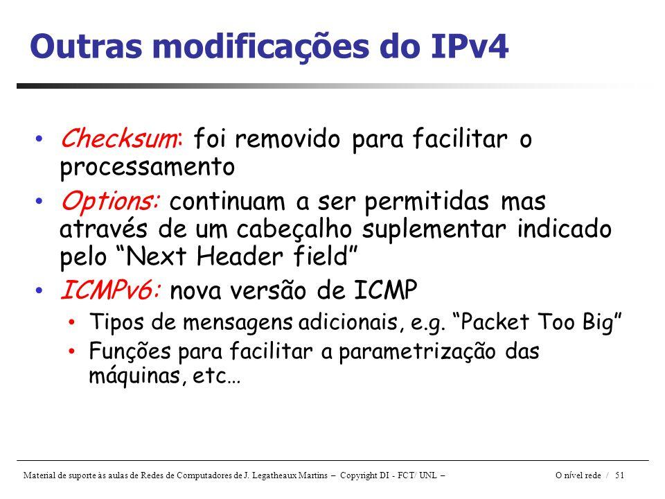 Outras modificações do IPv4