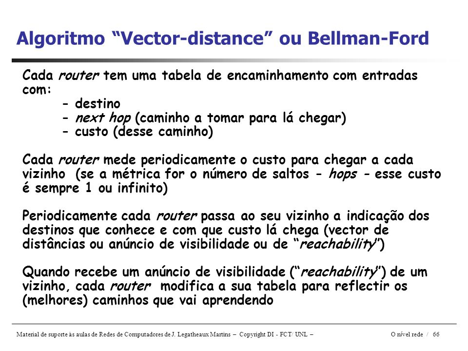 Algoritmo Vector-distance ou Bellman-Ford