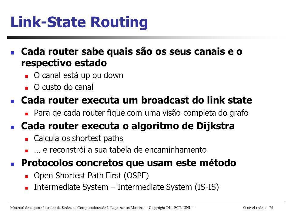 Link-State Routing Cada router sabe quais são os seus canais e o respectivo estado. O canal está up ou down.
