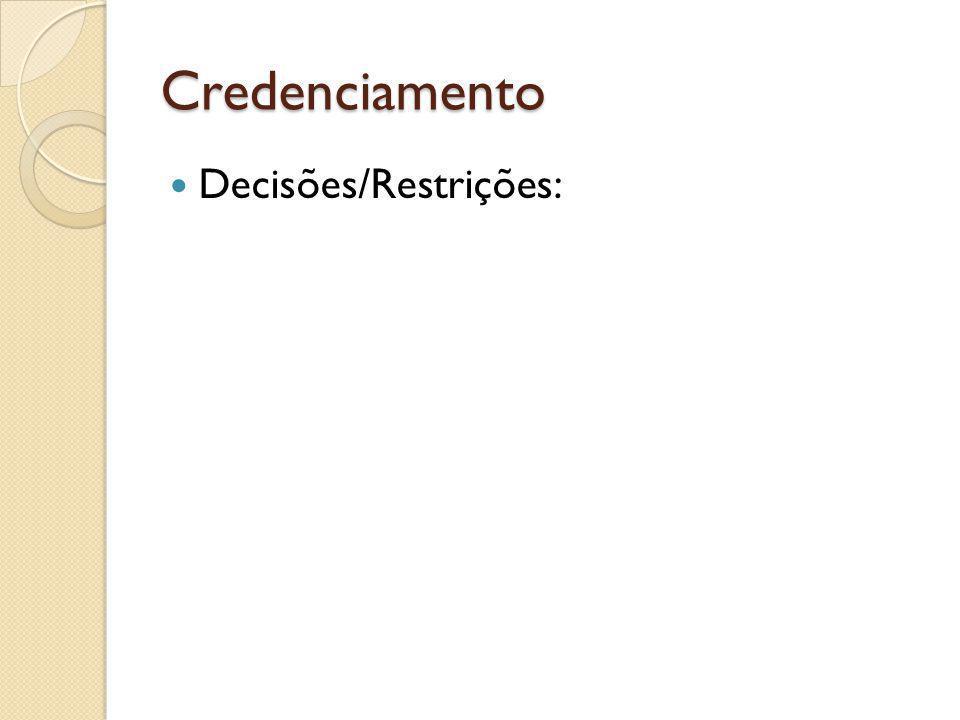 Credenciamento Decisões/Restrições: