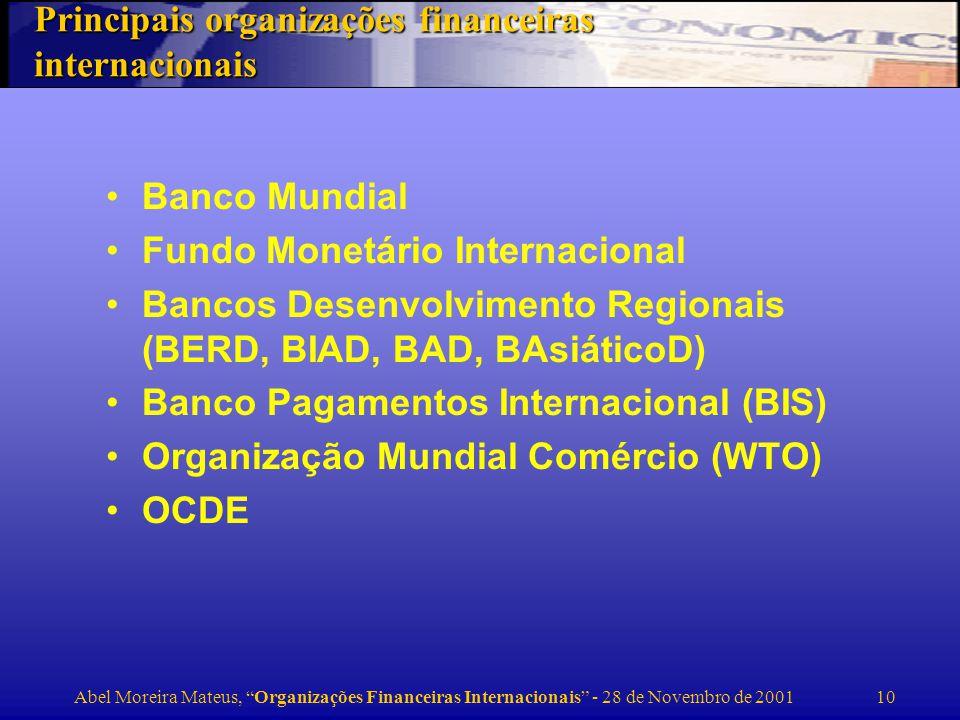 Principais organizações financeiras internacionais