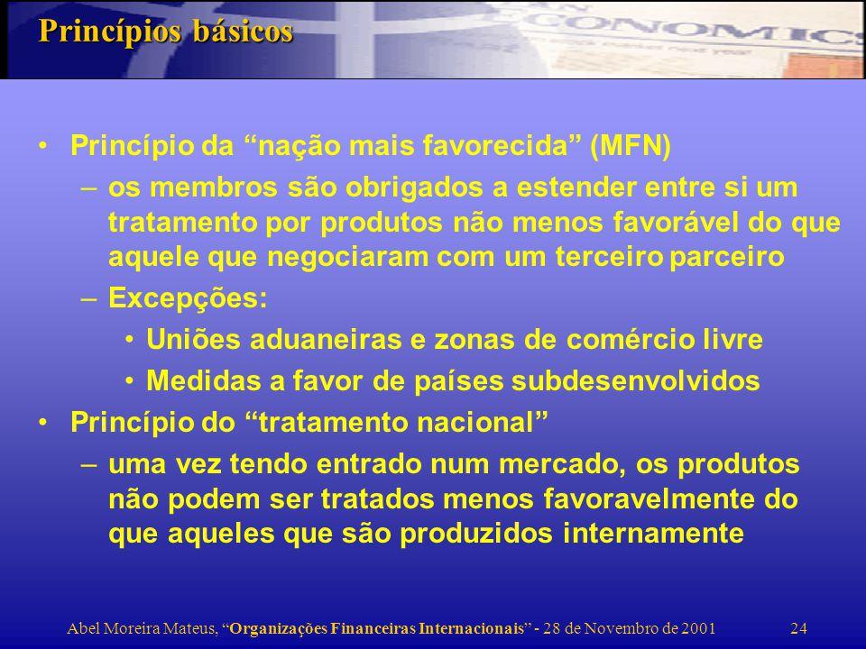 Princípios básicos Princípio da nação mais favorecida (MFN)