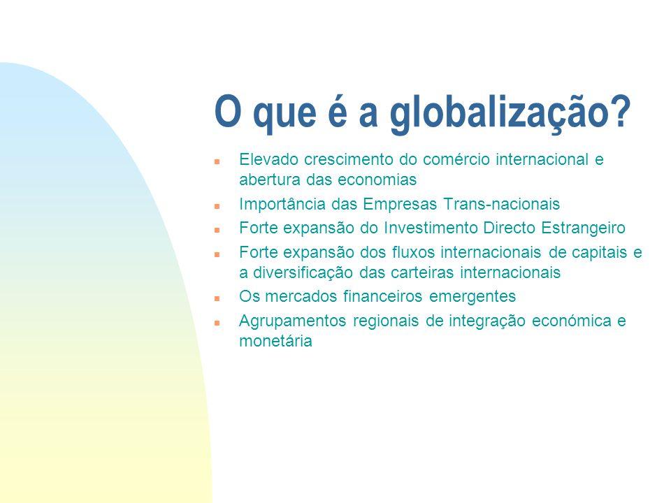 O que é a globalização Elevado crescimento do comércio internacional e abertura das economias. Importância das Empresas Trans-nacionais.