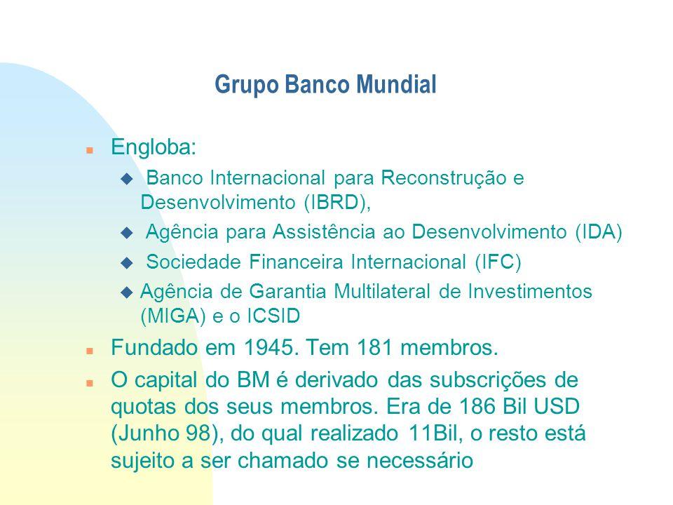 Grupo Banco Mundial Engloba: Fundado em 1945. Tem 181 membros.