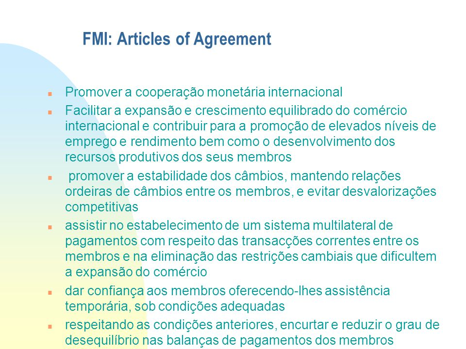 FMI: Articles of Agreement