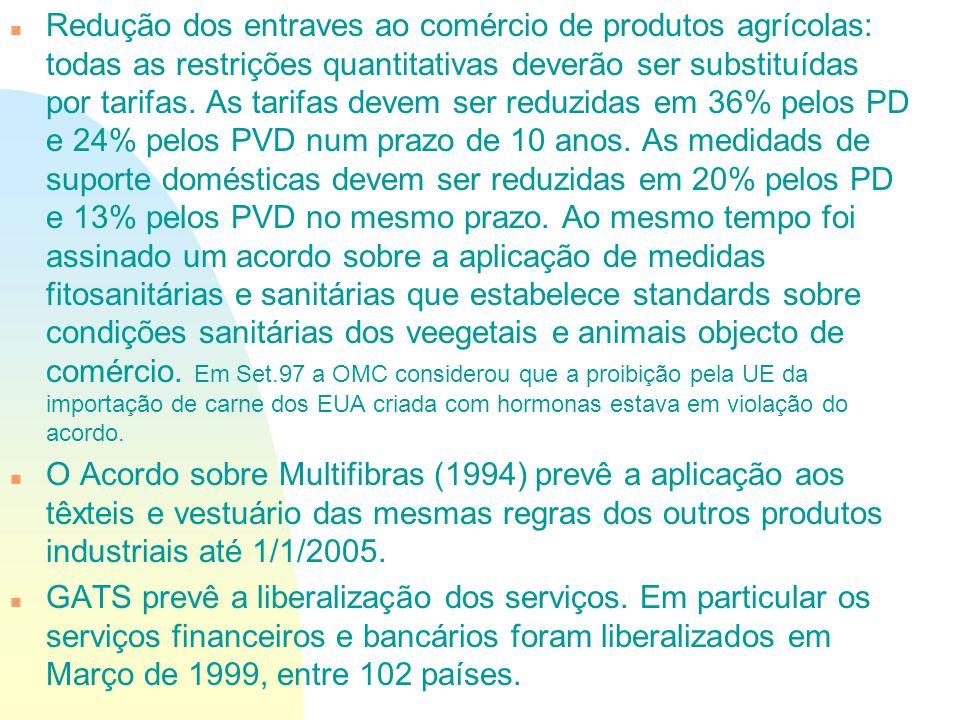 Redução dos entraves ao comércio de produtos agrícolas: todas as restrições quantitativas deverão ser substituídas por tarifas. As tarifas devem ser reduzidas em 36% pelos PD e 24% pelos PVD num prazo de 10 anos. As medidads de suporte domésticas devem ser reduzidas em 20% pelos PD e 13% pelos PVD no mesmo prazo. Ao mesmo tempo foi assinado um acordo sobre a aplicação de medidas fitosanitárias e sanitárias que estabelece standards sobre condições sanitárias dos veegetais e animais objecto de comércio. Em Set.97 a OMC considerou que a proibição pela UE da importação de carne dos EUA criada com hormonas estava em violação do acordo.