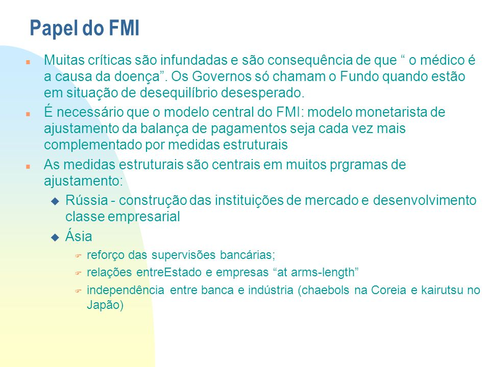 Papel do FMI