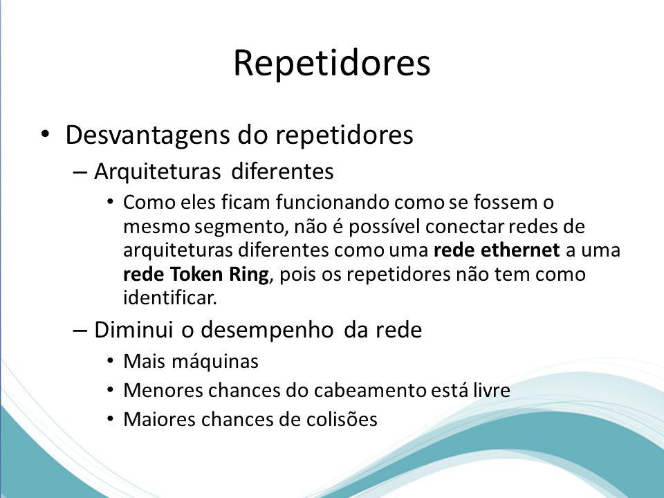 Repetidores Desvantagens do repetidores Arquiteturas diferentes