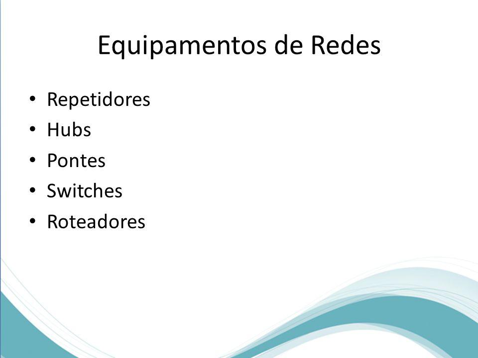 Equipamentos de Redes Repetidores Hubs Pontes Switches Roteadores