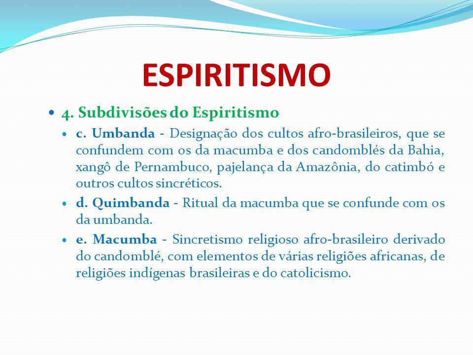 ESPIRITISMO 4. Subdivisões do Espiritismo