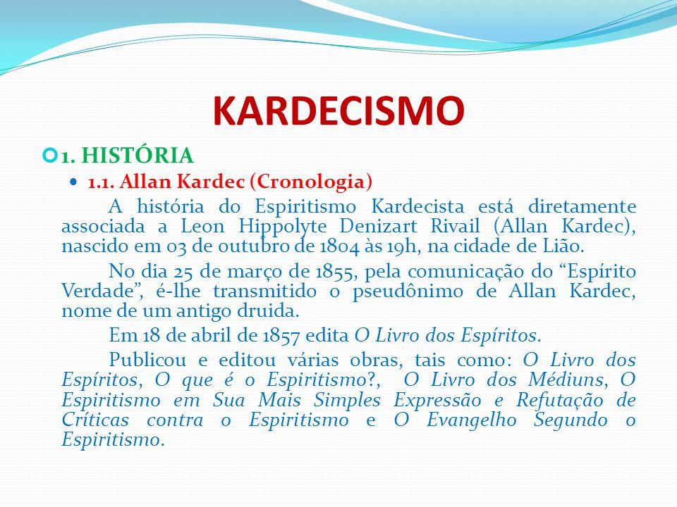 KARDECISMO 1. HISTÓRIA 1.1. Allan Kardec (Cronologia)
