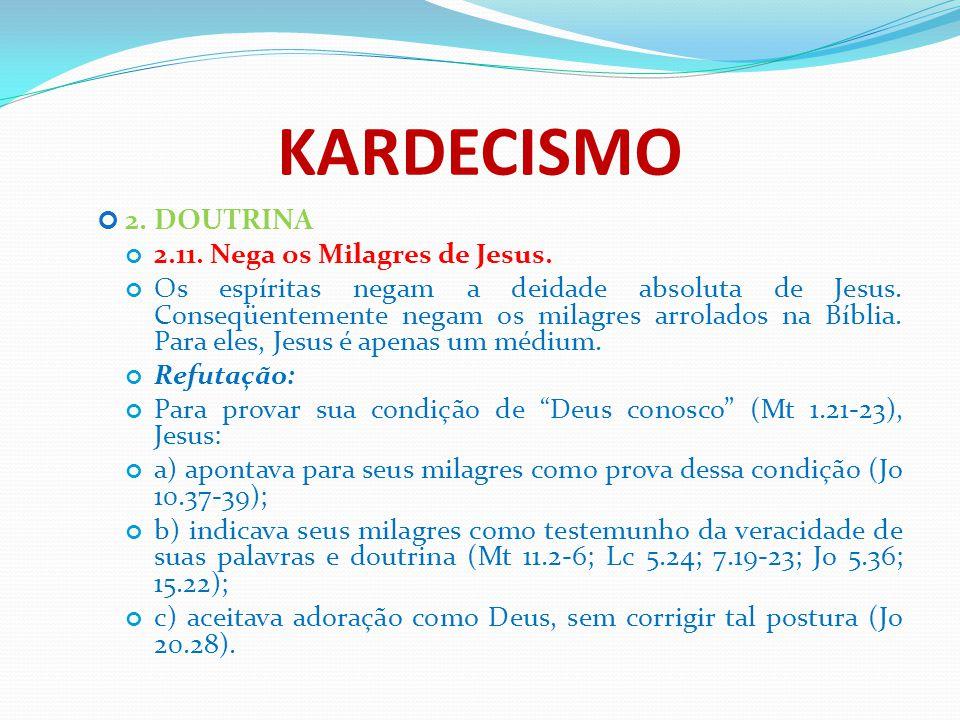 KARDECISMO 2. DOUTRINA 2.11. Nega os Milagres de Jesus.