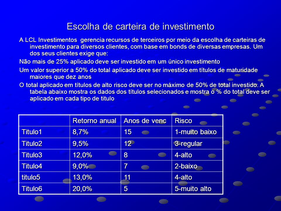 Escolha de carteira de investimento