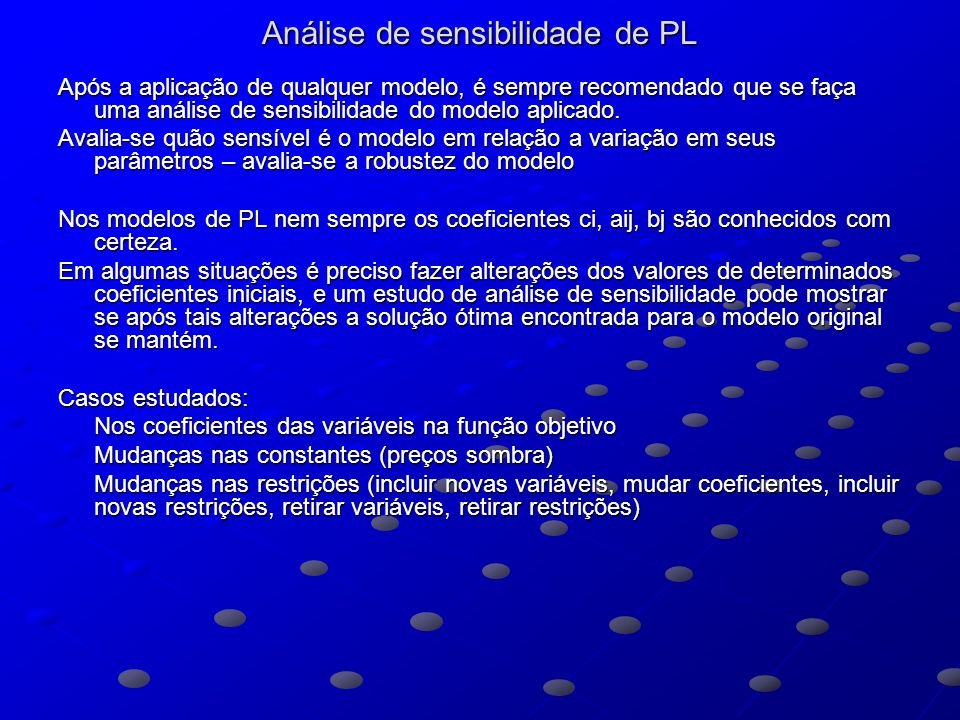 Análise de sensibilidade de PL