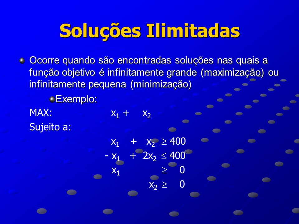 Soluções Ilimitadas Exemplo:
