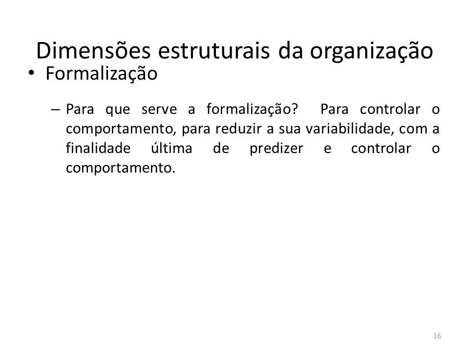 Dimensões estruturais da organização