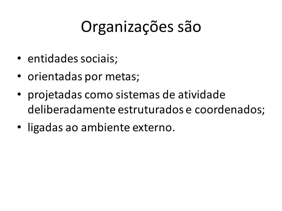 Organizações são entidades sociais; orientadas por metas;