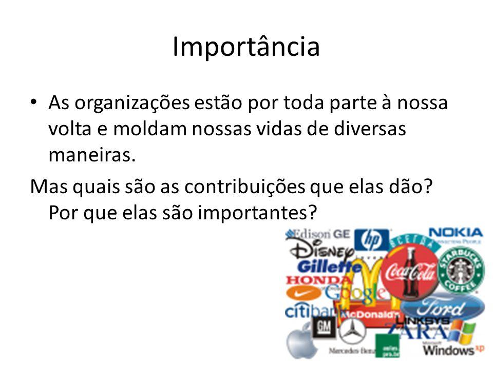 Importância As organizações estão por toda parte à nossa volta e moldam nossas vidas de diversas maneiras.
