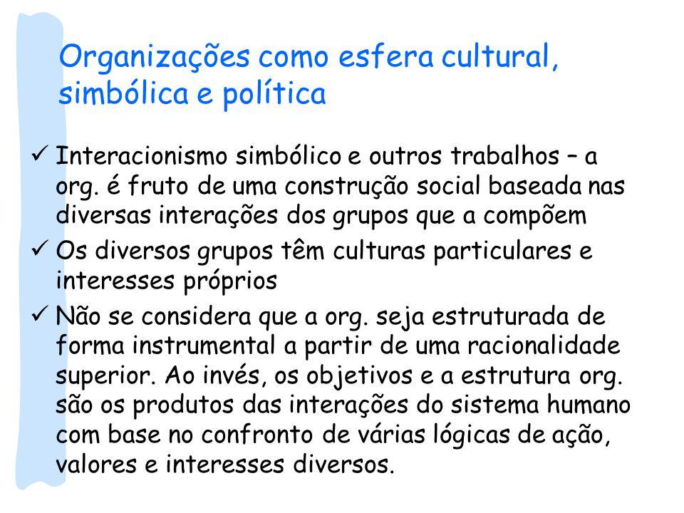 Organizações como esfera cultural, simbólica e política