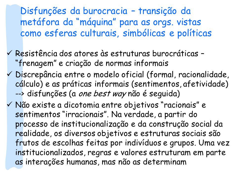 Disfunções da burocracia – transição da metáfora da máquina para as orgs. vistas como esferas culturais, simbólicas e políticas