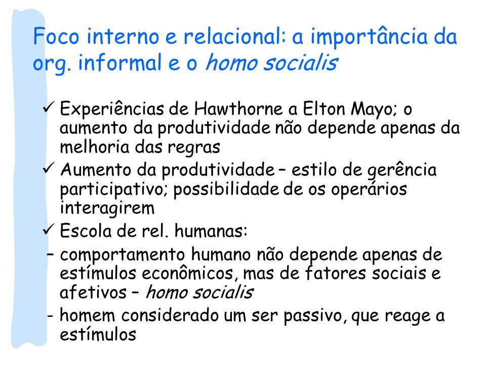 Foco interno e relacional: a importância da org