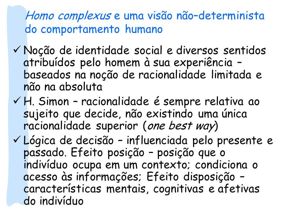 Homo complexus e uma visão não–determinista do comportamento humano