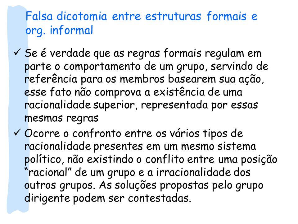 Falsa dicotomia entre estruturas formais e org. informal