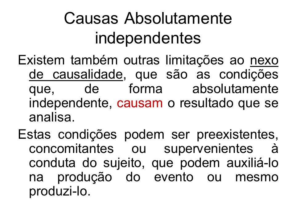 Causas Absolutamente independentes