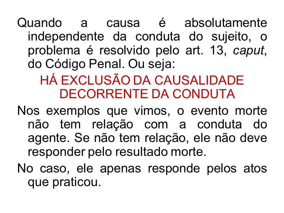 HÁ EXCLUSÃO DA CAUSALIDADE DECORRENTE DA CONDUTA