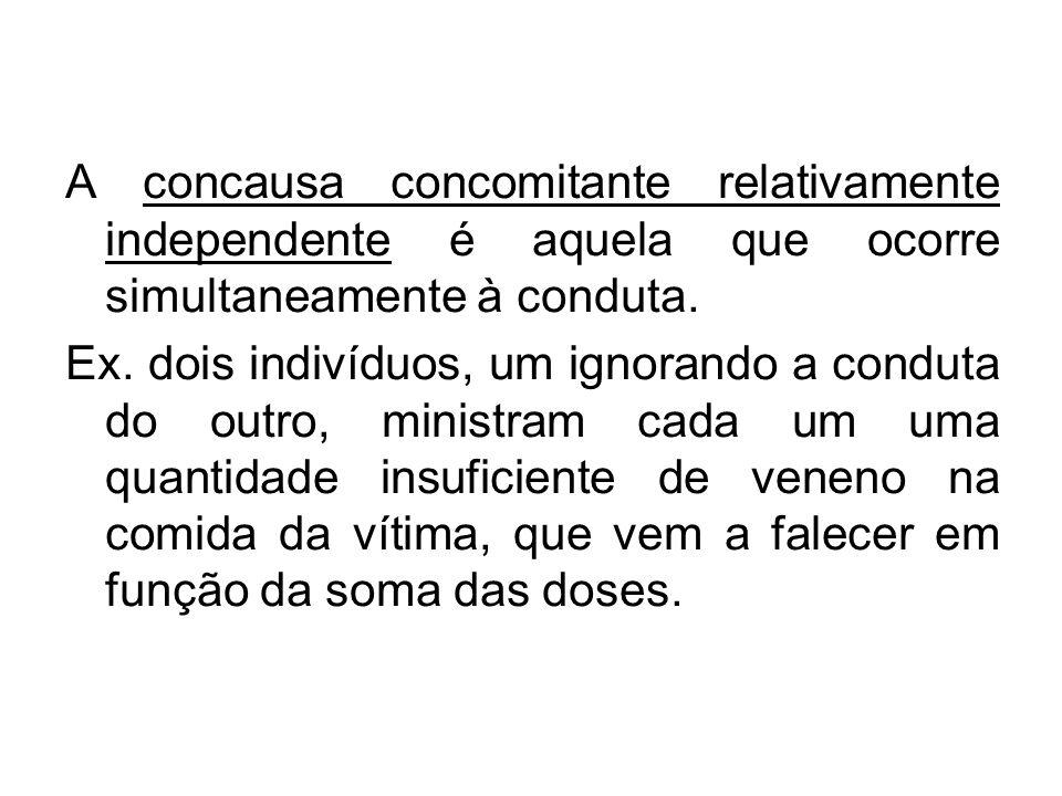 A concausa concomitante relativamente independente é aquela que ocorre simultaneamente à conduta.