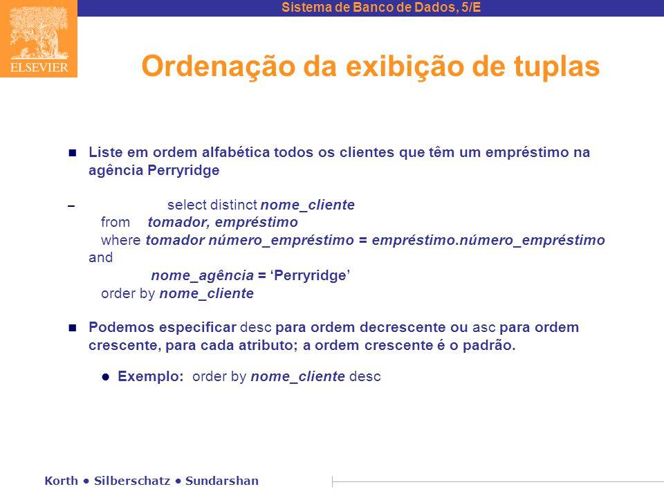 Ordenação da exibição de tuplas