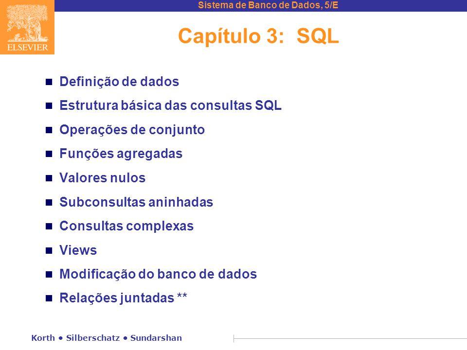 Capítulo 3: SQL Definição de dados Estrutura básica das consultas SQL