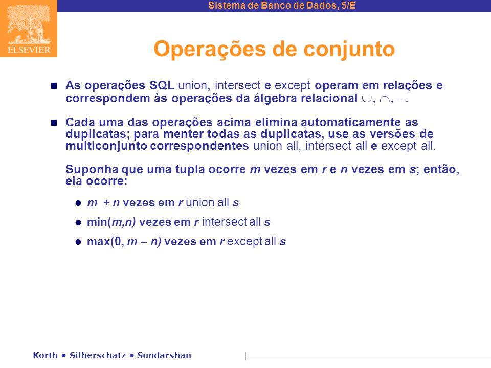 Operações de conjunto As operações SQL union, intersect e except operam em relações e correspondem às operações da álgebra relacional .