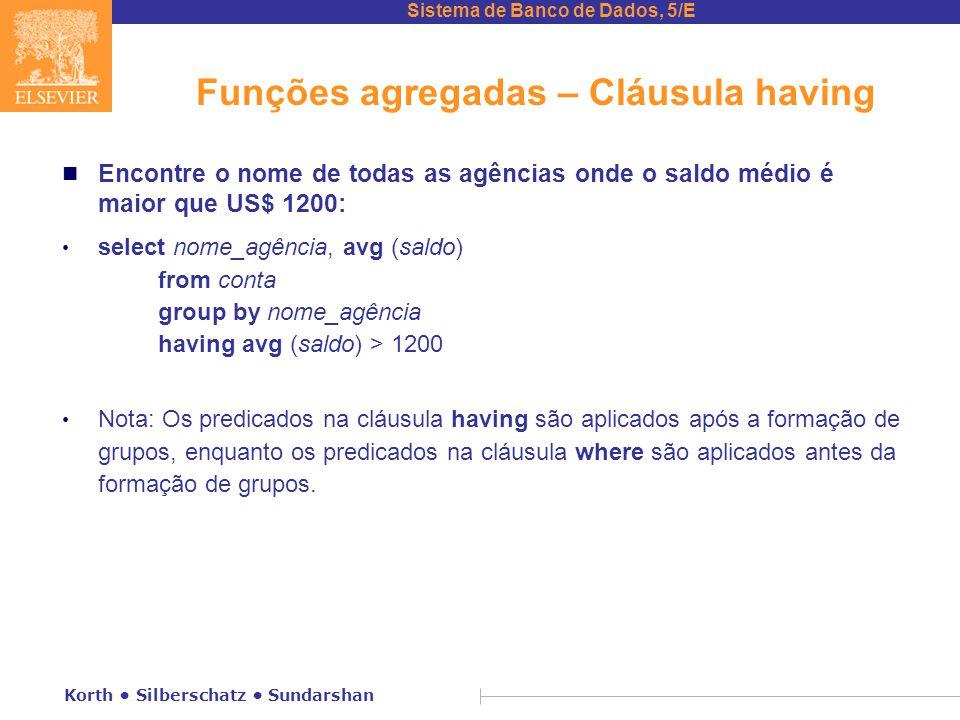Funções agregadas – Cláusula having