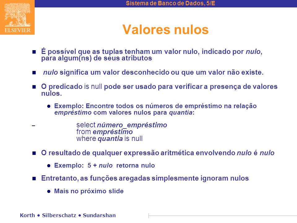 Valores nulos É possível que as tuplas tenham um valor nulo, indicado por nulo, para algum(ns) de seus atributos.