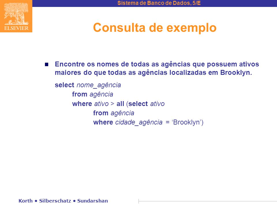 Consulta de exemplo Encontre os nomes de todas as agências que possuem ativos maiores do que todas as agências localizadas em Brooklyn.