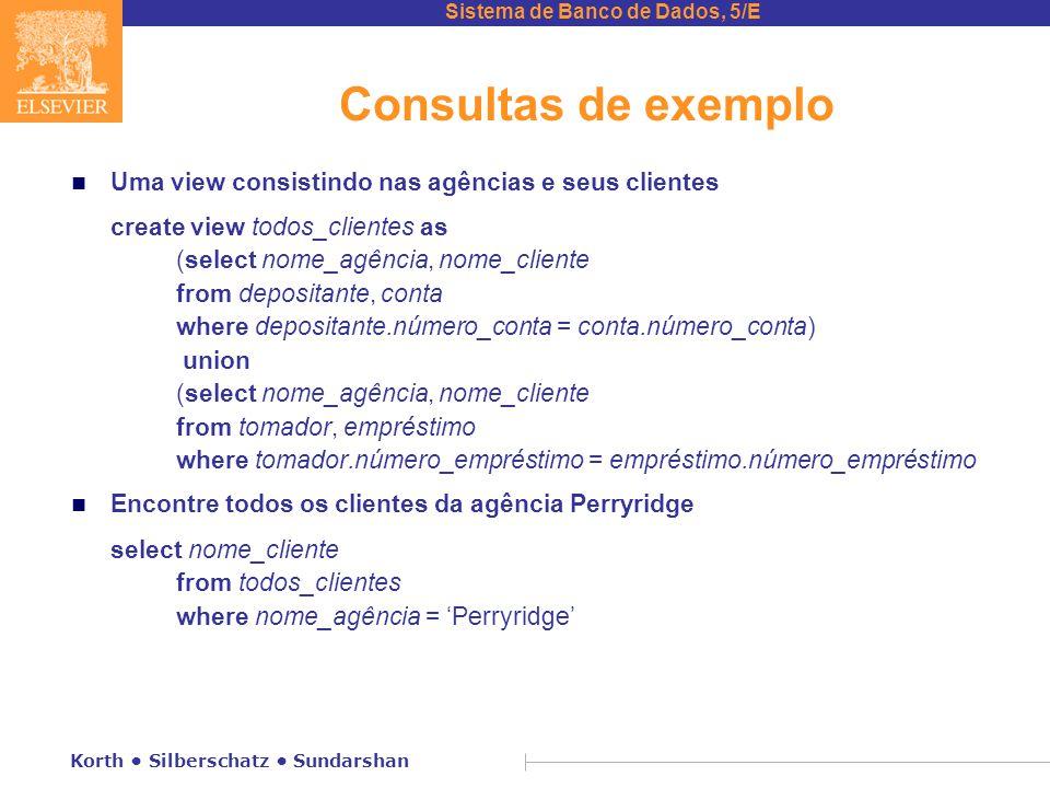 Consultas de exemplo Uma view consistindo nas agências e seus clientes