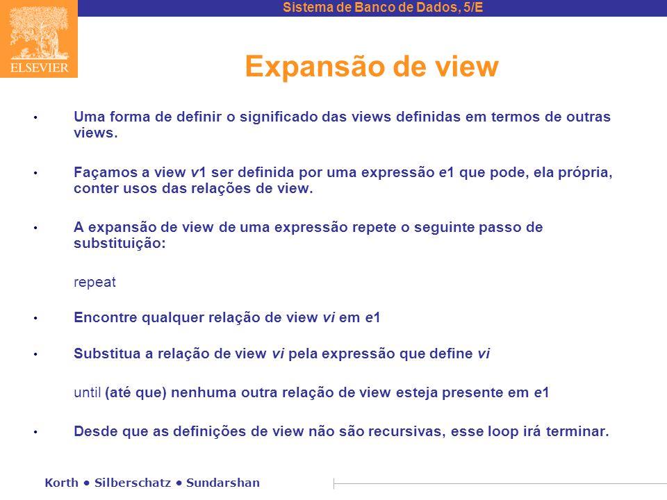 Expansão de view Uma forma de definir o significado das views definidas em termos de outras views.