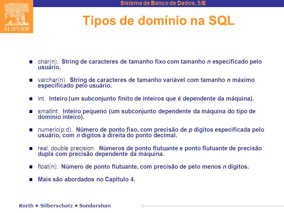 Tipos de domínio na SQL char(n). String de caracteres de tamanho fixo com tamanho n especificado pelo usuário.